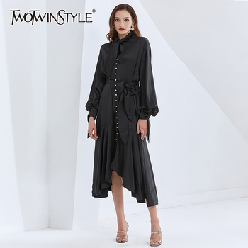 TWOTWINSTYLE Patchwork Ruffle Dresses For Women Lace Up Lantern Sleeve High Waist With Belt Slimming Women's Vintage Dress New lace applique lantern sleeve cold shoulder top