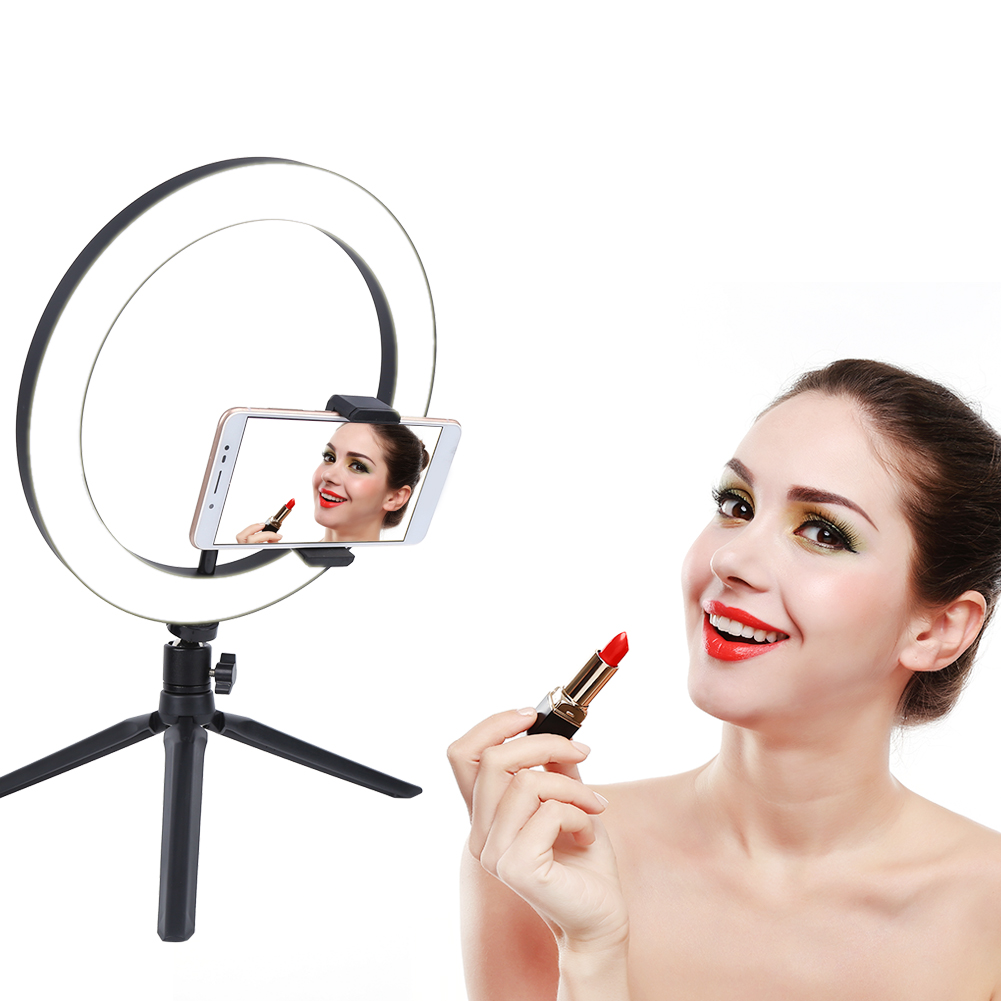 10inch LED Dimmable Fill Light Mobile Phone Flashes Three Light Modes Desktop Selfie Lamp for Live with Tripod Phone Bracket