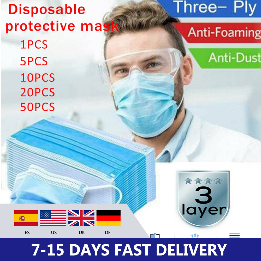 5/10/20/50Pcs Mouth Face Masks Non-Woven Mouth Mask Disposable 3 Filter Mask