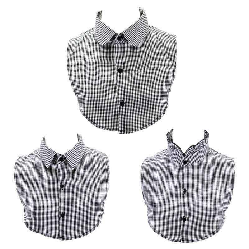 THINKTHENDO черный, белый цвет плед половина-рубашка со складками, с оборками, с имитацией воротника Для женщин Цепочки и ожерелья Колье-чокер