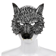 Halloween Wolf Half Face Mask Cosplay Masquerade Party Realistic Look Werewolf Facial Dress Up Props Decoration Product