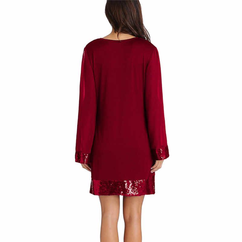 Kadın elbise moda v yaka payetli uzun kollu dikiş Mini elbise akşam parti elbise bahar sonbahar rahat elbise Vestidos 7