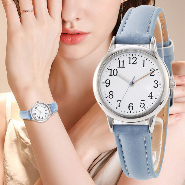 Japan Movement Women Quartz Watch Easy to Read Arabic Numerals Simple Dial PU Leather Strap Lady Candy Color 1