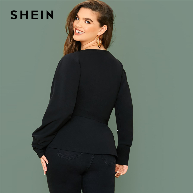 SHEIN Plus Size Black Surplice Neck Dolman Sleeve Pearls Beaded Belted Top Women Spring Solid Elegant Office Lady Peplum Blouses 2