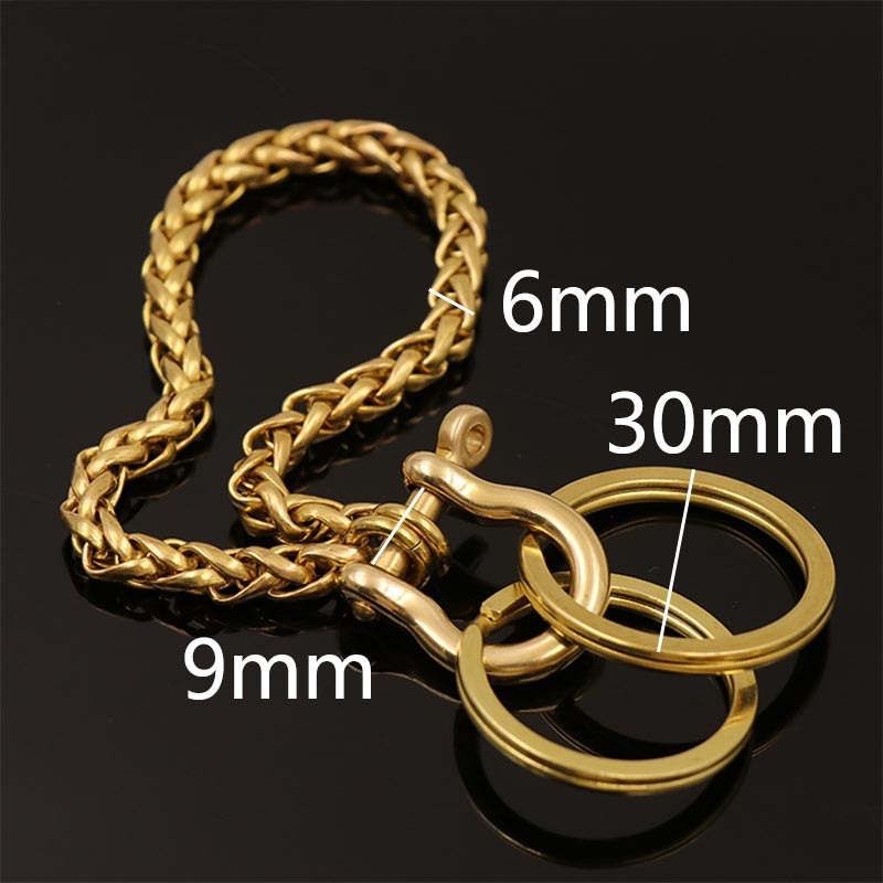6mm Fashion Solid Brass D Shackle O Ring Wallet Chain Men Trousers Belt Decor Chain Keychain Metal Buckle Snap Hook DIY Craft in Buckles Hooks from Home Garden
