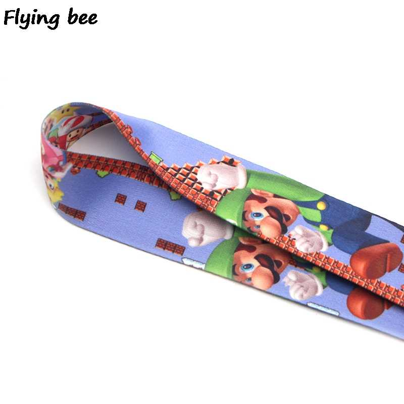 Flyingbee Kawaii لعبة ماريو بروس سلسلة مفاتيح قصيرة مفاتيح حامل المرأة حزام أشرطة للعنق للمفاتيح ID بطاقة الهاتف الحبل X0371