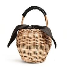 Straw portable retro holiday woven bag ins Sen seaside vacation bucket beach tot