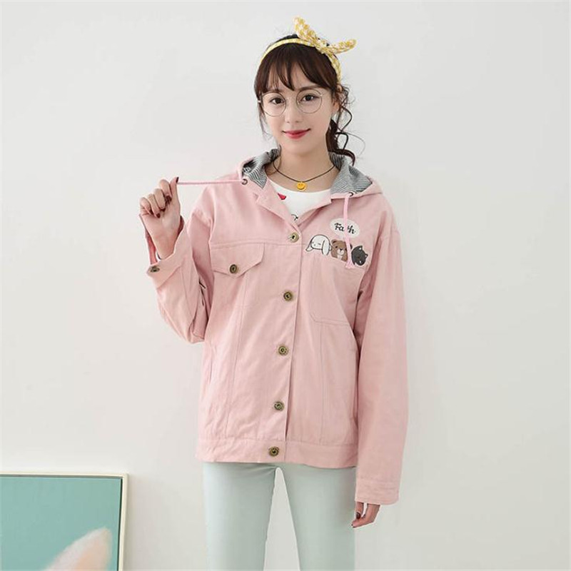 Image 3 - MERRY PRETTY Women Coats And Jackets Autumn Cartoon Print  Outerwear Jeans Casual Long Sleeve Single Breasted Hooded  JacketJackets