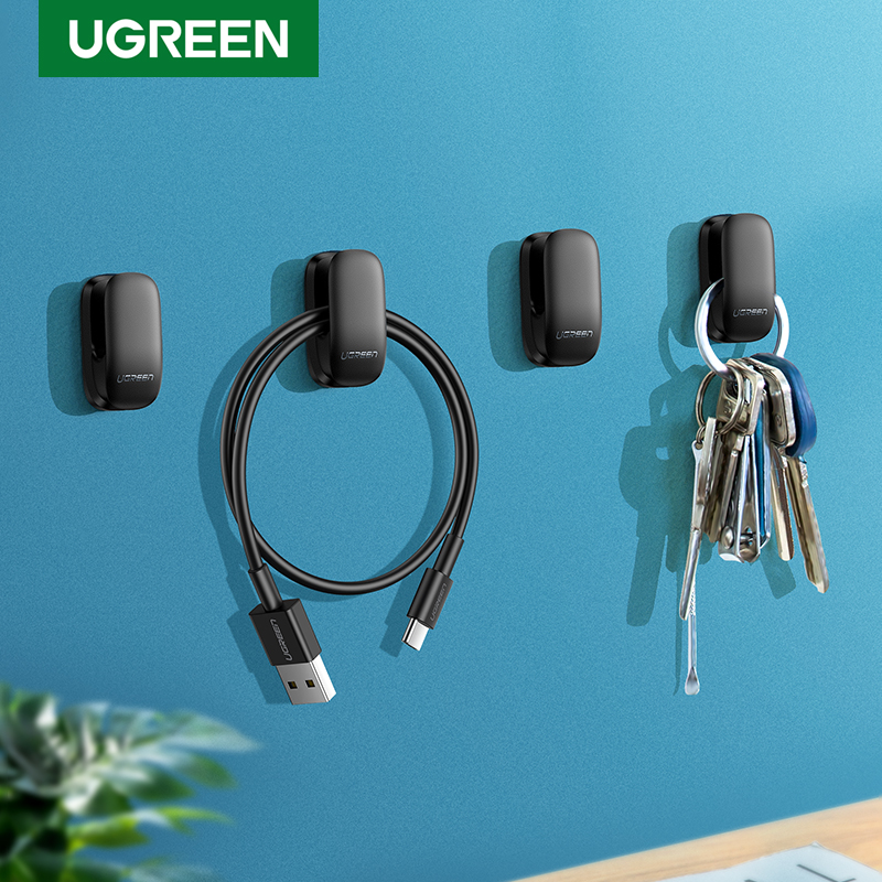 Ugreen Holder Hanger Hook 4pcs Organizer Holder Clip for Key Bag Car Office Headphone Charger Cable Management Car Cable Holder(China)