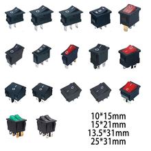 Push Button Rocker Switch 2/3/4/6 Pin Position 250V Snap-in Light On Off On Smart Eletronics Switches Waterproof Cap Cover Led