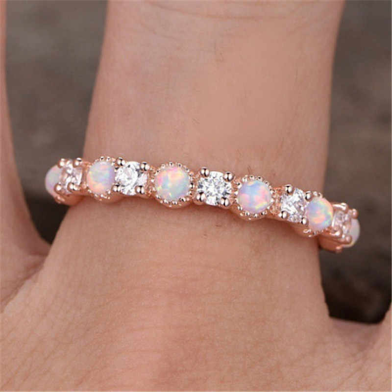 Wukalo ใหม่โอปอลงานแต่งงานแหวน Rose Gold สี CZ Zircon Vintage โอปอลหมั้นแหวนเครื่องประดับ Dropshipping