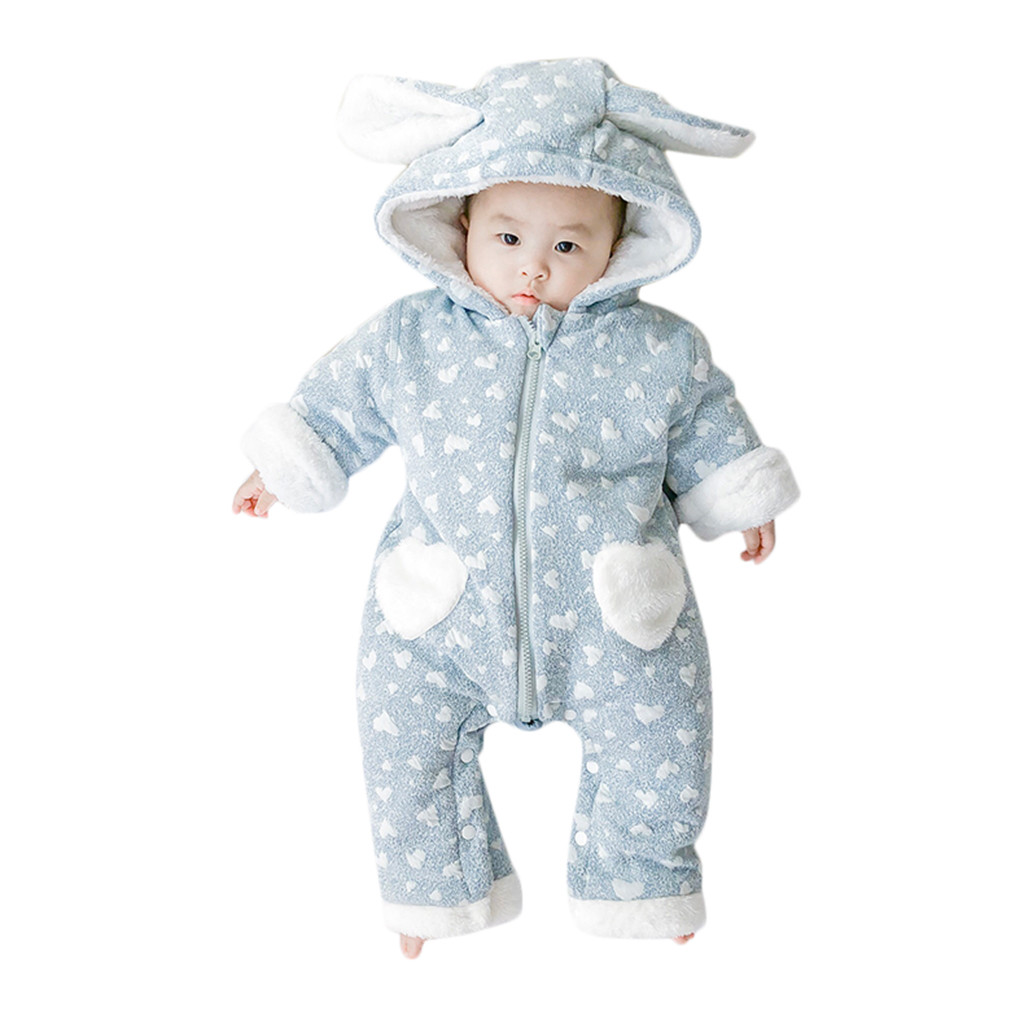 Hooded Fleece Newborn Infant Baby Girl Boy Floral Ruffle Romper Jumpsuit Playsuit Outfits