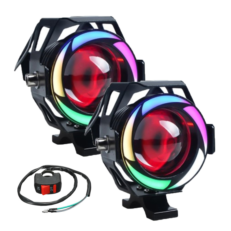 Motorcycle LED Headlight U7 Moto lights for scooter motorbike Fog Lamp Angel Devil eyes LED External Flashing warning Light 12V