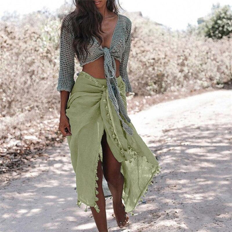Beach Sarong Pareo Womens Semi-Sheer Swimwear Cover Ups Short Skirt with Tassels 1
