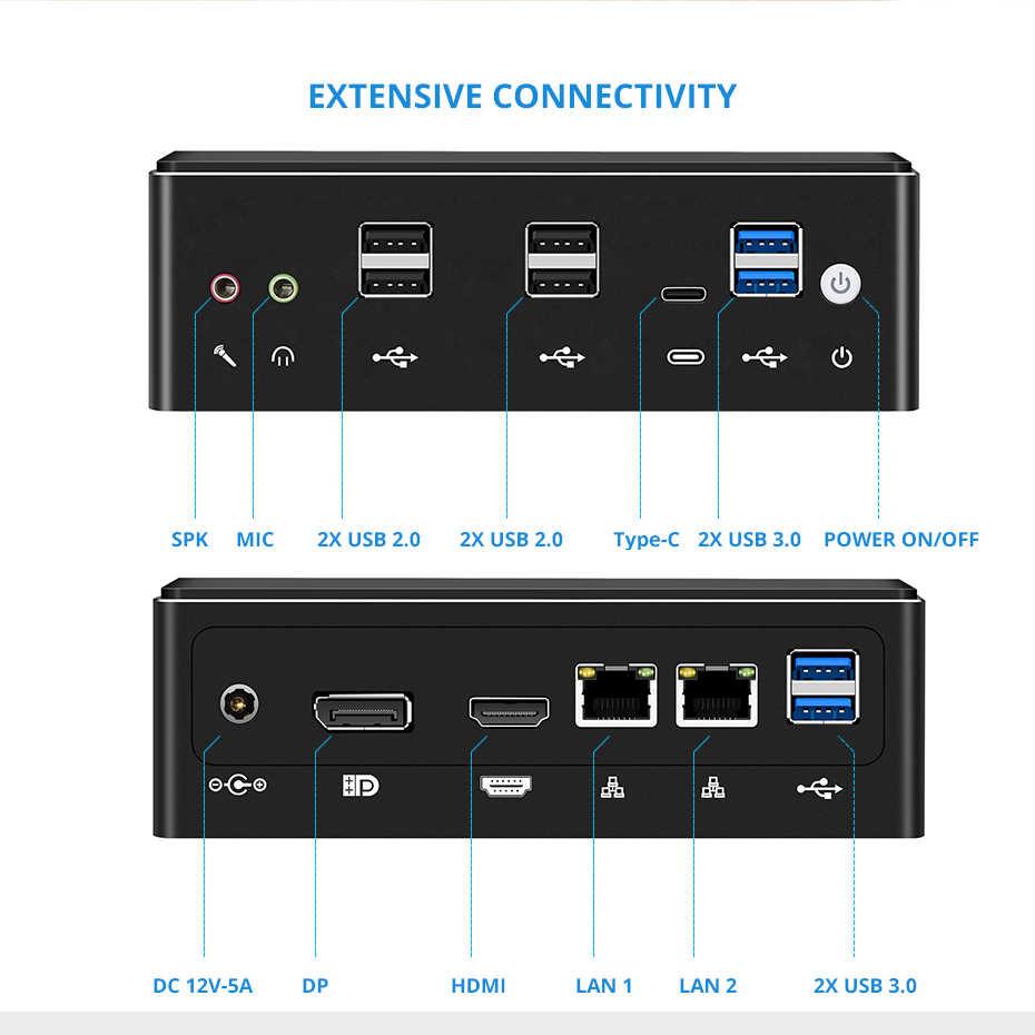Mini pc 10th gen intel core i7, 10510u i5 i3 ddr4 hdmi dp 4k 60fps wifi bluetooth windows 10 visture v102 computador desktop tv visture