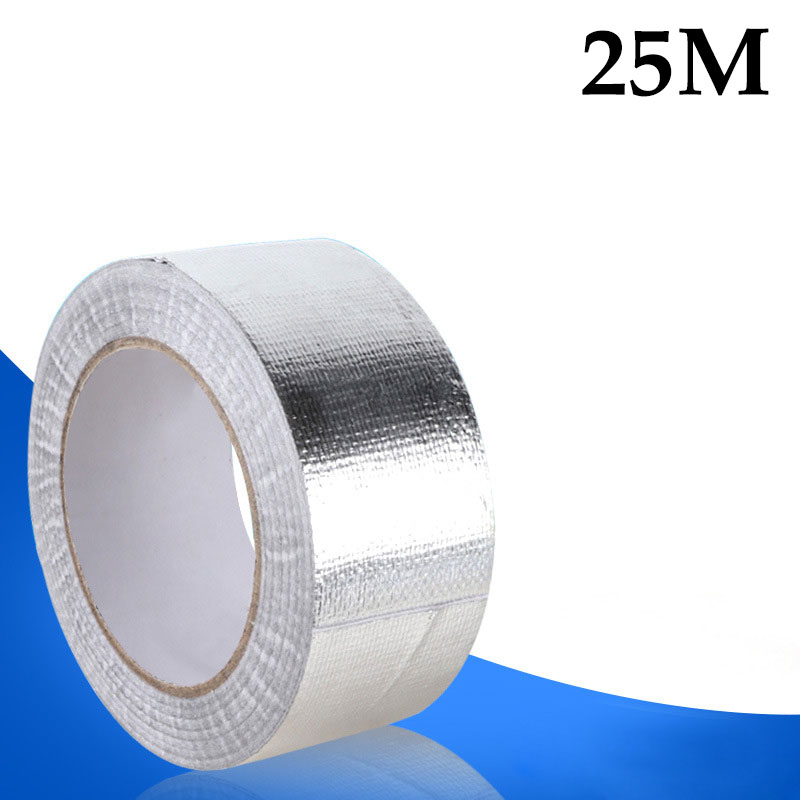 25M x 48mm Aluminum Foil Wrap Tape Car Engine Compartment Intercooler Oil Pipe Heat Insulation Turbo Air Hose Self-Adhesive Tape