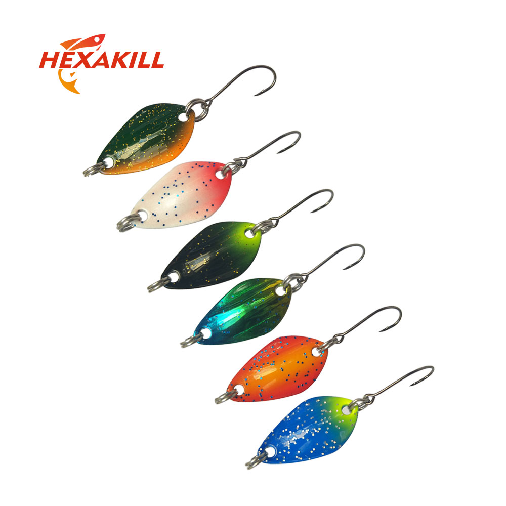 Hexakill 1pcs 1.4g/1.8g/2.2g/2.8g/3g/3.3g Fishing Metal Colorful Spoon Baits  Metal Spinner Lure Mini Bait For Trout Single Hook