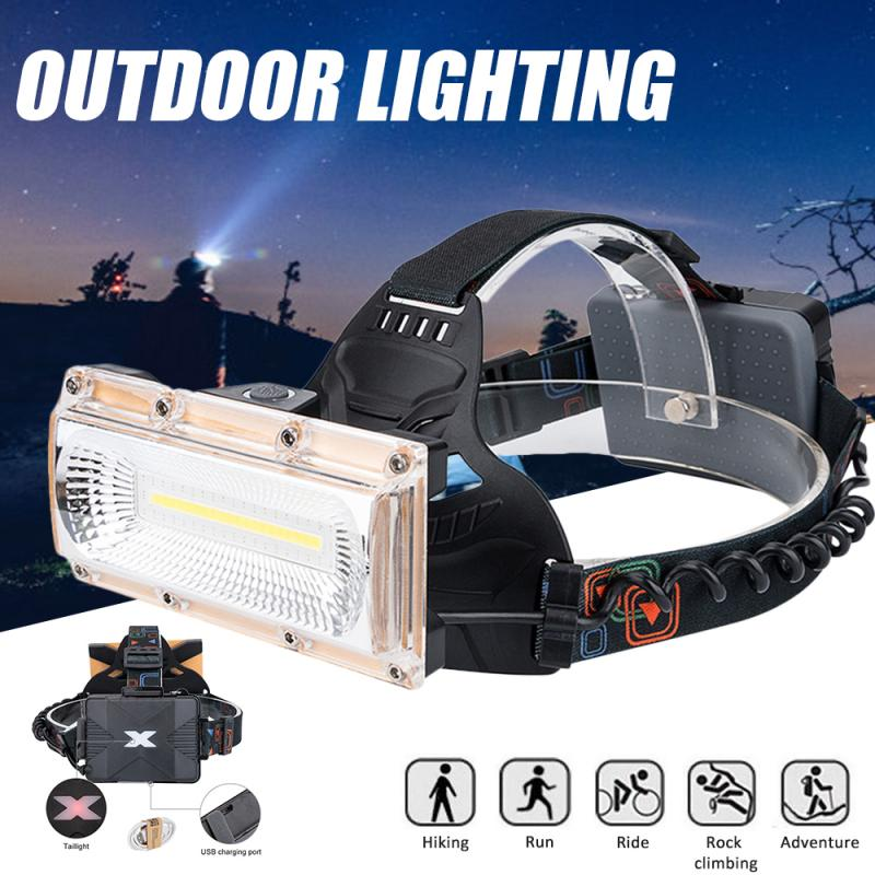 <font><b>60000LM</b></font> Floodlight COB <font><b>LED</b></font> Headlamps <font><b>LED</b></font> Headlight Camping Head Torch 3Modes Head Lantern 3*18650 Rechargeable Frontal HeadLamp image