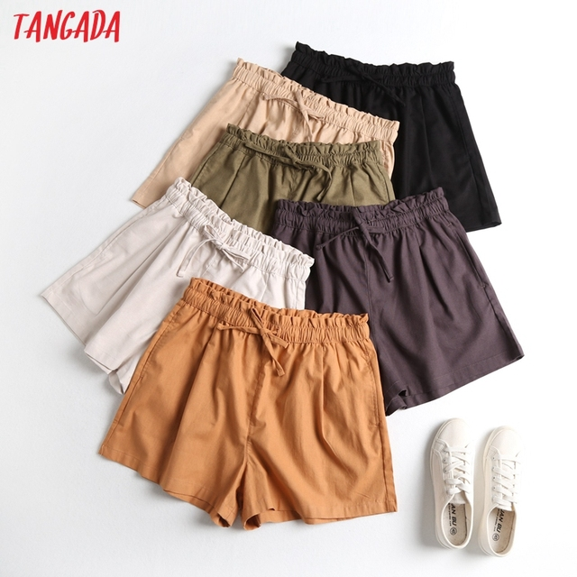 Tangada 2021 Summer Women Vintage Cotton Linen Shorts with Slash Pockets Female Retro Casual Shorts Pantalones 2E18 1