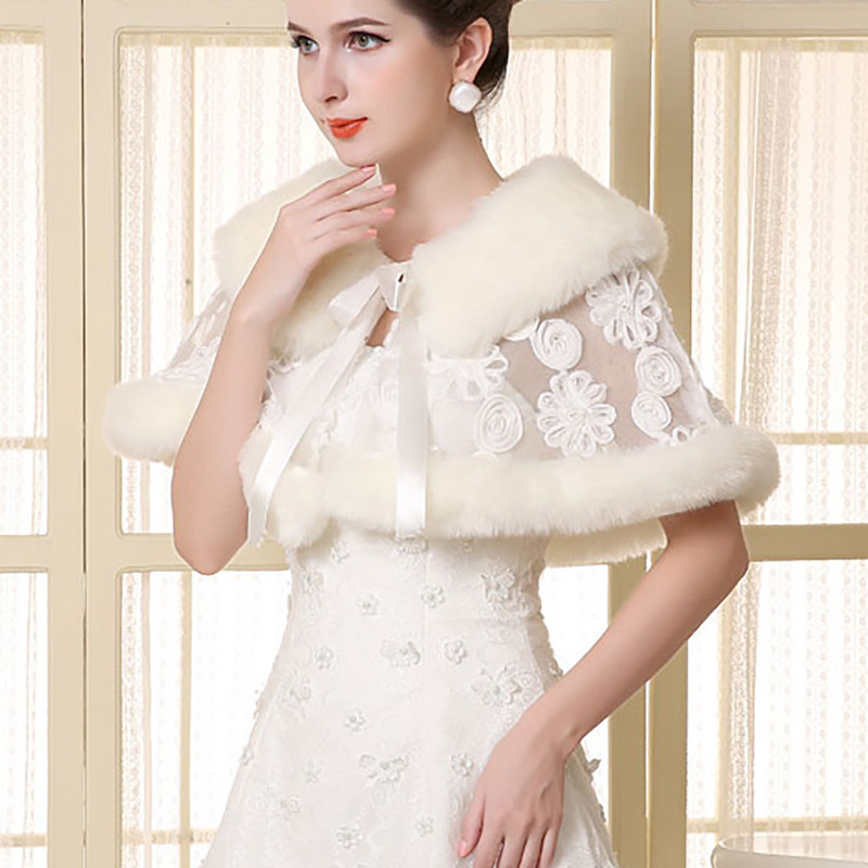 YULUOSHA Autumn Bride Wedding Dress Plush Shawl Winter Wedding Dress Warm Shawl Lace Stitching Shawl Faux Fur Feather Robe