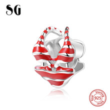 SG New Bikini Beads 925 Sterling Silver Charms with red enamel Fit authentic pandora Bracelets Jewelry making for women gifts 2018 new 925 sterling silver red enamel bikini charms beads fit authentic pandora bracelet charms beads jewelry for women gifts