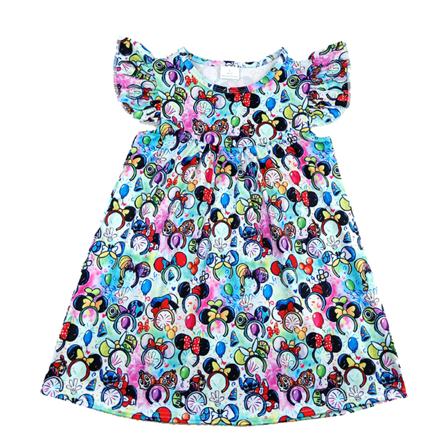 2020 Spring/summer New Design Toddler Girls Dresses Baby Kids Colourful Mickey Head Pattern Dress Milksilk Flutter Clothes