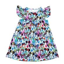 2020 אביב/קיץ חדש עיצוב פעוט בנות שמלות תינוק ילדים ססגוני מיקי ראש דפוס שמלת Milksilk רפרוף בגדים