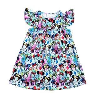 Image 1 - فساتين للفتيات الصغيرات لربيع وصيف 2020 بتصميم جديد فستان بنمط رأس ميكي ملون للأطفال ملابس رفرفة ميلك سيلك