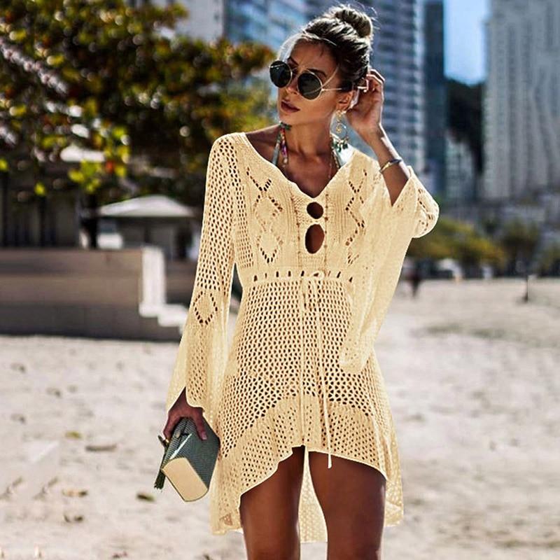 Beach Wear Women Sexy Cover Up Bikini Women Swimsuit Cover-up Beach Bathing Suit Knitting Swimwear Mesh Beach Dress Tunic Robe