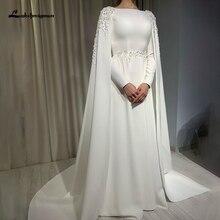 Arabic Muslim Wedding Dress With Cape A Line Long Sleeves High Neck Bride Dress Lace Appliques Sweep Train Vestido De Novia