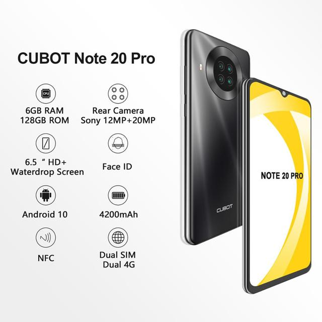 CUBOT Note 20 Pro Cell Phone 8+128GB Rear Quad Camera 12MP NFC Smartphone 4g 6.5″ HD Display Android 10 Telephone 4200mAh 2