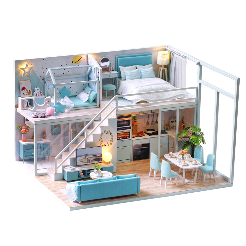 Kids Toys Doll House Furniture Assemble Wooden Toys Miniature Dollhouse Diy Dollhouse Puzzle Educational Toys For Children Gifts-in Doll Houses from Toys & Hobbies on AliExpress - 11.11_Double 11_Singles' Day 1