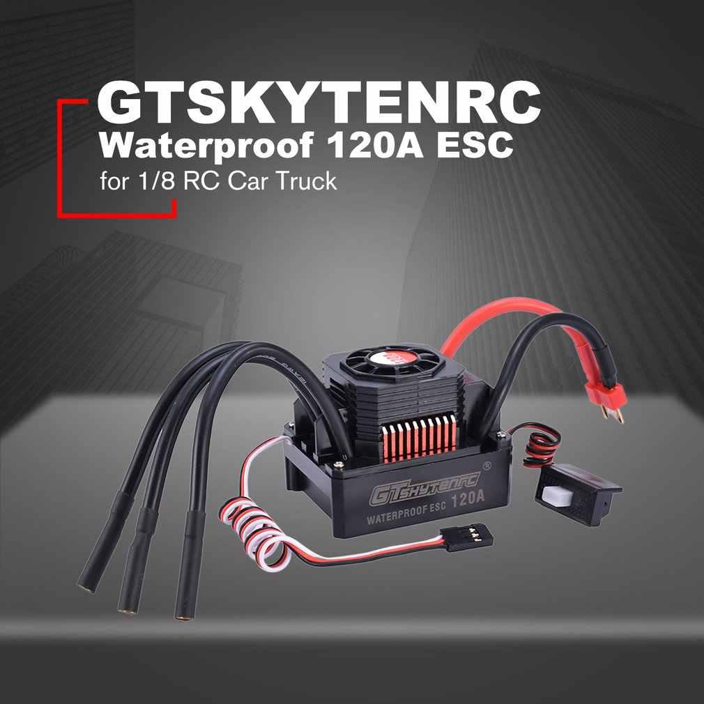GTSKYTENRC водонепроницаемый 120A ESC электрический регулятор скорости для 1/8 RC автомобиль грузовик 4076 4068 Бесщеточное моторное оборудование