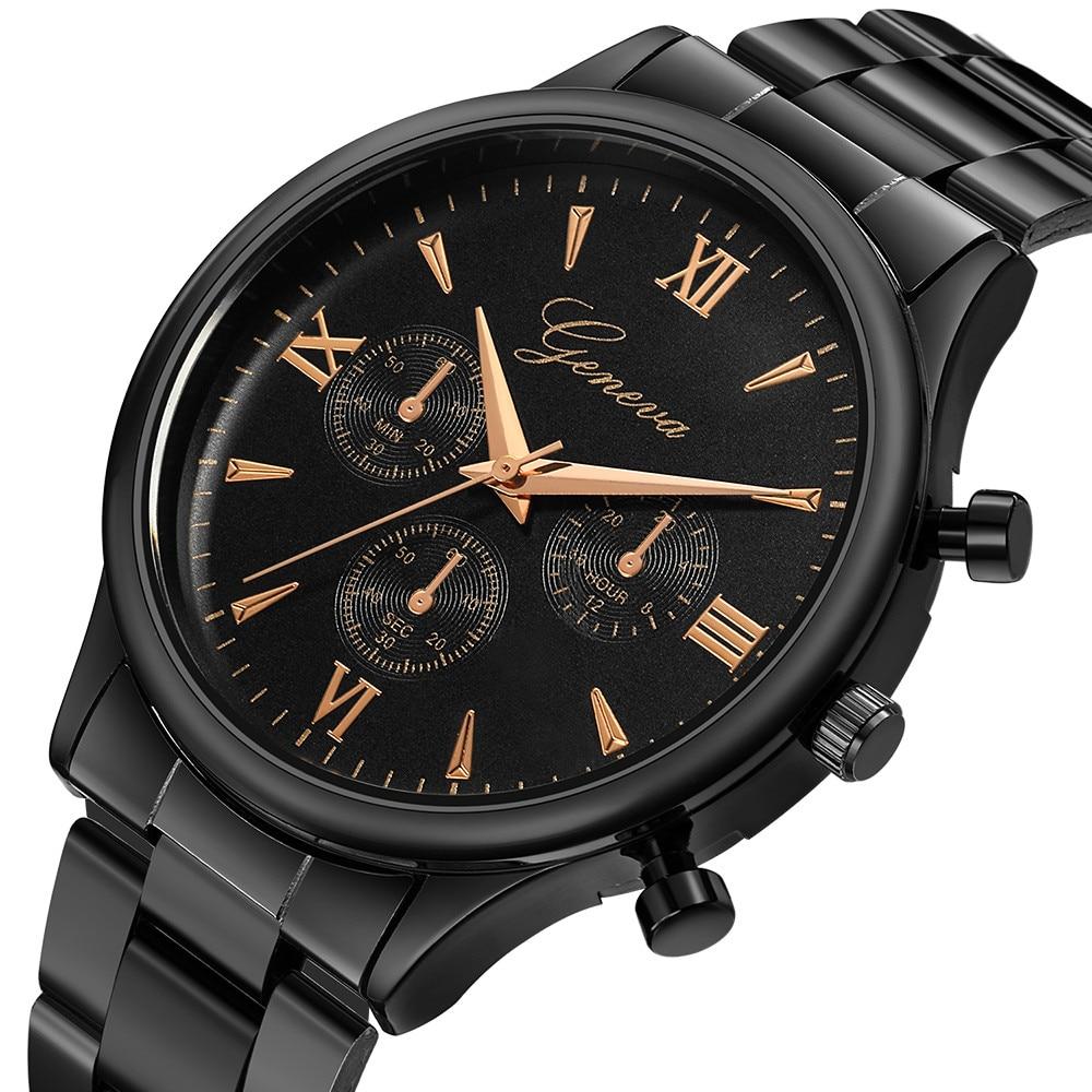 Geneva Mens Watch Luxury Three-eye Stainless Steel Watch For Men's Quartz Analog Wrist Watch Ladies Gift Relogio Masculino