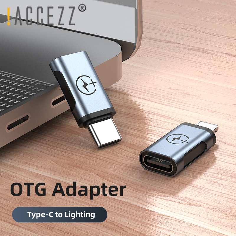 !ACCEZZ Mini OTG Adapter Type C To Lighting Male For IPhone 7 8 X 11 Pro Max Type-C Famale Splitter USB C Charge Data Converter