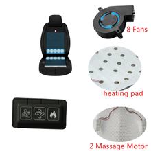 12V car seat ventilation kit wireless 3 speed remote cool 8 air flow Fan Liner cooler + heating pad  + Massage for cover comfort
