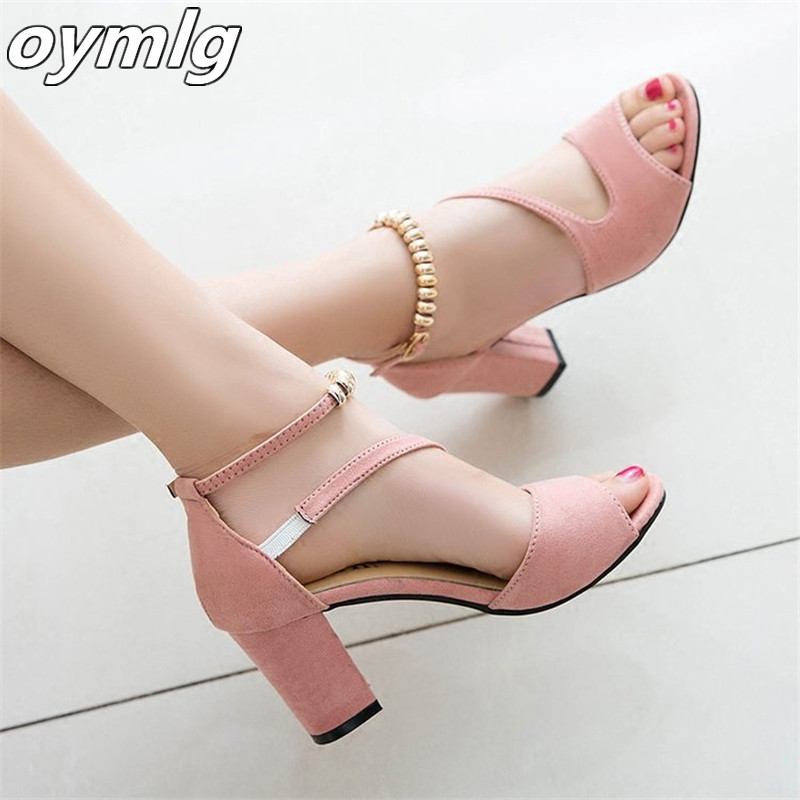 2019 spring sexy fish mouth hollow Roman sandals thick with a word with beaded high heels female summer Sexy female sandals x25|High Heels| |  - title=