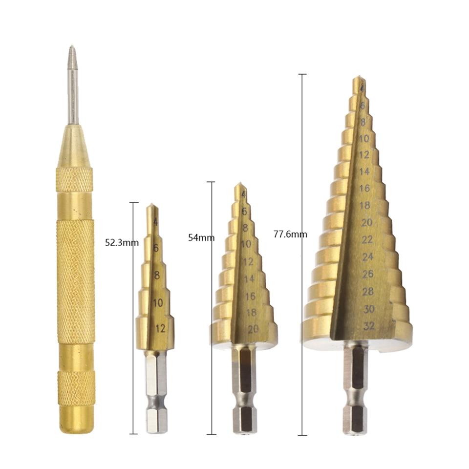 Yalku Hex Titanium Step Cone Drill Bit Hole Cutter 4-12/20/32MM HSS4241 For Sheet Metal Tool Wood Drilling
