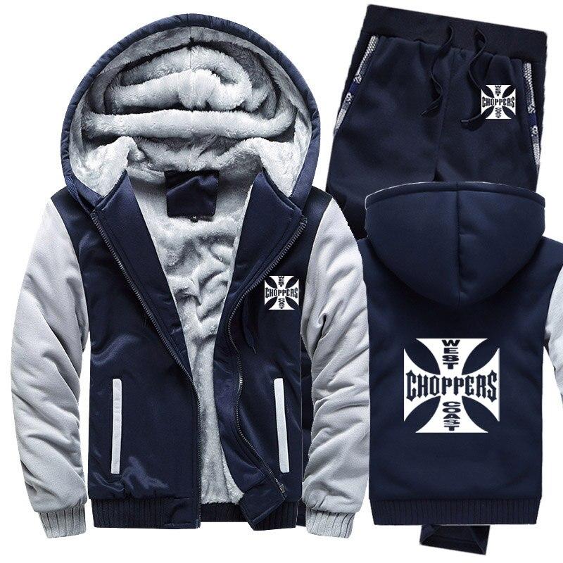 Hoodies Men West Coast Choppers Mens Hoodies Suit Winter Thicken Warm Fleece Cotton Zipper Tracksuit Mens Jacket+Pants 2Pcs Sets