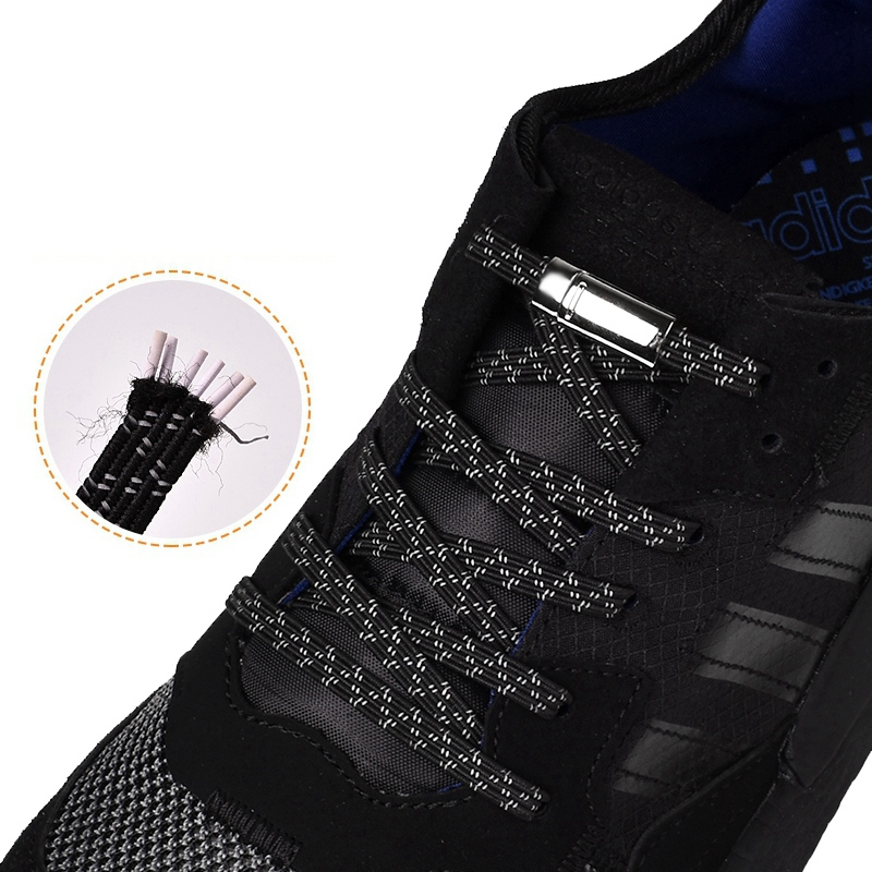 Magnetic Shoelaces Elastic Reflective Metal Locking No Tie Shoelace Running At Night Leisure Sneakers Lazy Laces Unisex 1 Pair