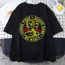 Cobra kai moda rua impressão camiseta masculina solto respirável roupas de t hip hop o-pescoço topos personalidade confortável tshirts