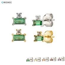 Kikichicc 925 Sterling Silver 10 Color Green Stud Earring Mini Women Luxury CZ Z