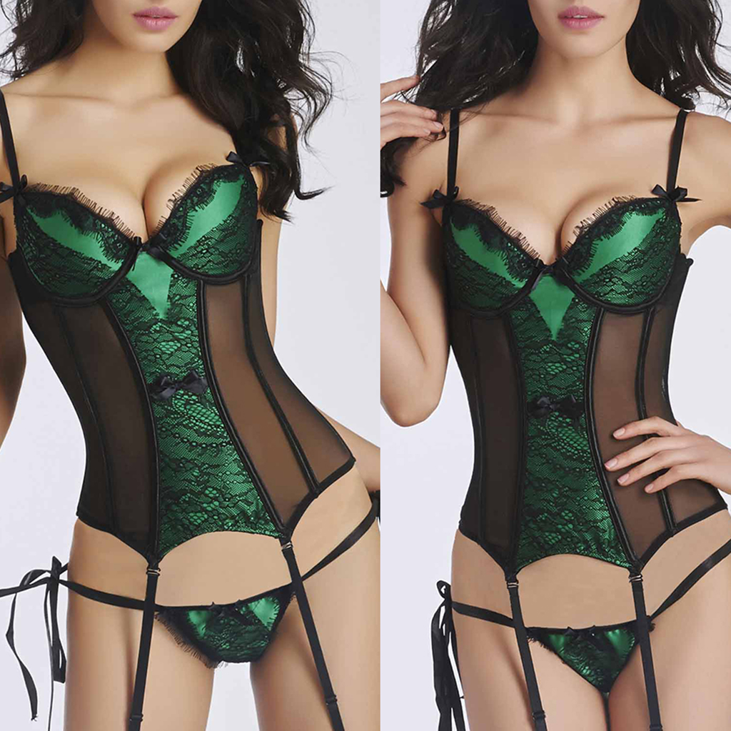Boned Lace Bustier Corset With Garter Suspender G String Panties Lingerie Nightwear