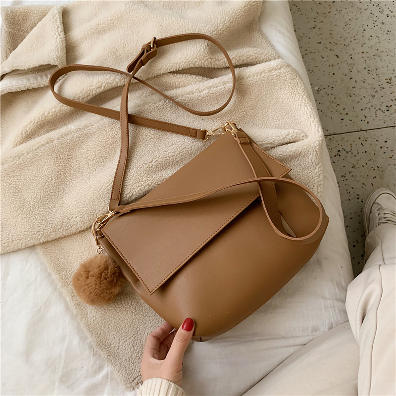 Solid Color Leather Shoulder Bag 2019 New Ladies Retro Messenger Bag Designer Luxury Handbag Wallet Ladies Handbag