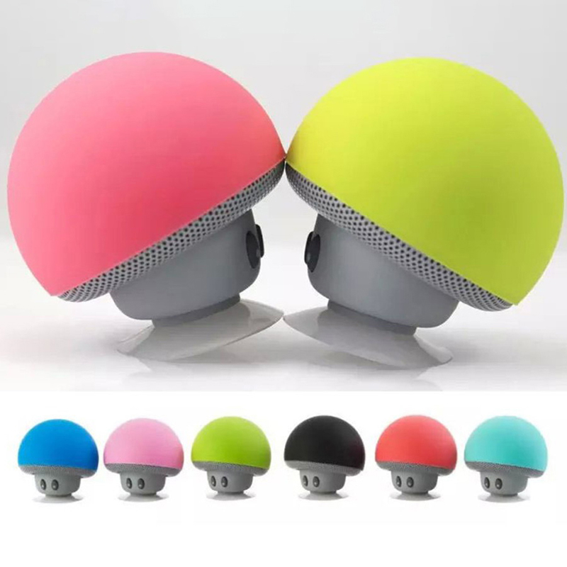 Bluetooth Mushroom Mini Speaker With Mic Suction Cup Stereo Subwoofer Phone Holder Bracket Kickstand For Phone Laptop