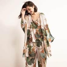 Пижамный комплект Женский с принтом банановых листьев, удобная Свободная Домашняя одежда с мультяшным принтом, большие размеры, весна-осен...