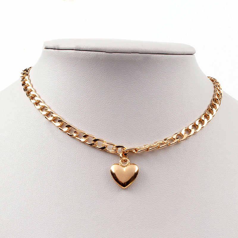 Gorące kobiety biżuteria słodkie serce blokada naszyjnik złoty srebrny Choker naszyjnik wisiorek na akcesoria na szyję