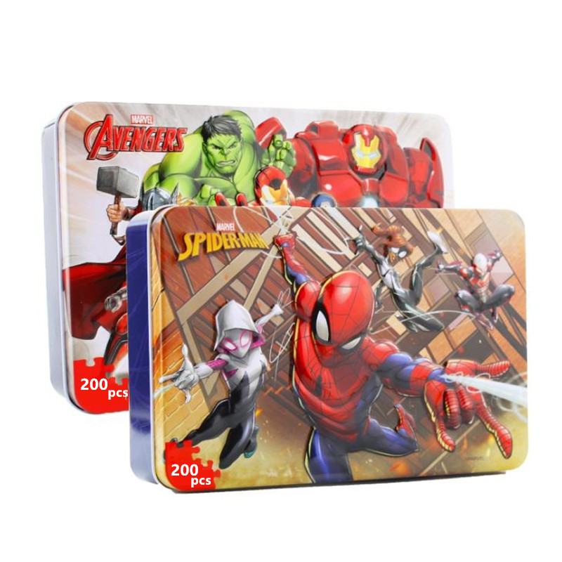 Marvel Spiderman Avengers Disney Flat Puzzle 200 Pcs Iron Box Wooden Jigsaw Puzzles Toy For Children Gift