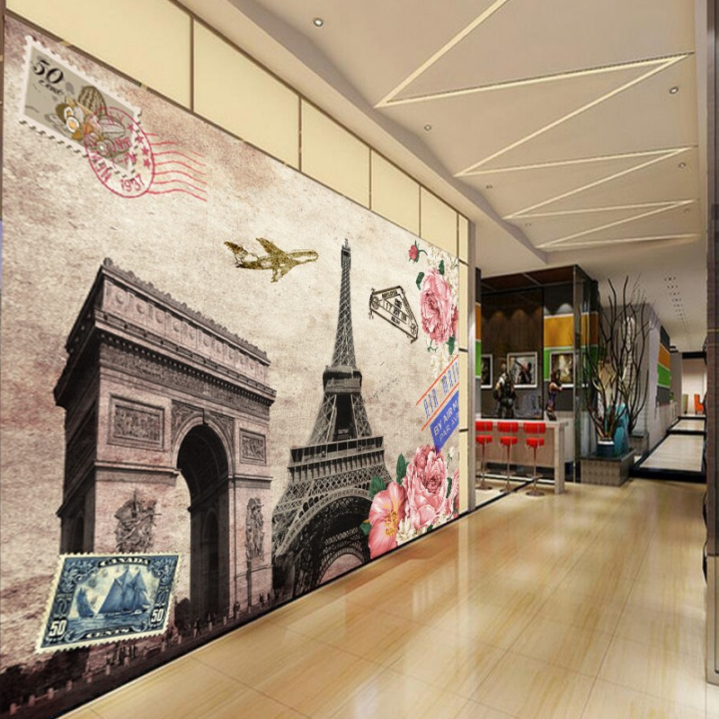 Custom 3d Wallpaper Custom European American Oil Painting Triomphe Paris Tower Background Wall Wallpaper Lobby Mural
