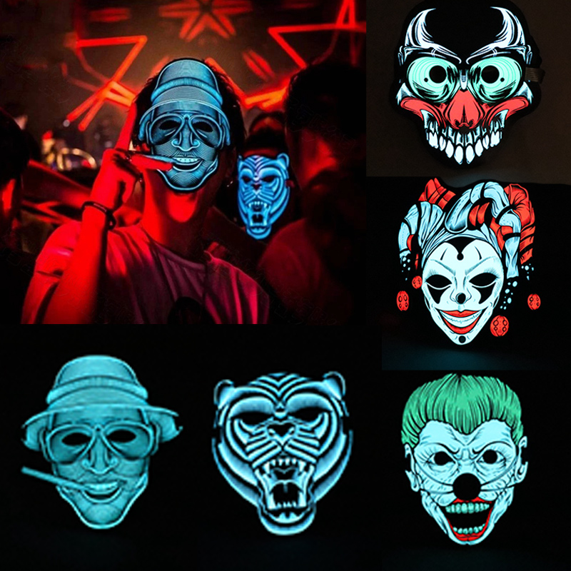 High Voice Control Glowing Mask LED Halloween Bar KTV Festival Mask DSM